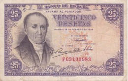 BILLETE DE ESPAÑA DE 25 PTAS DEL 19/02/1946 SERIE F  CALIDAD BC (BANKNOTE) - 25 Pesetas