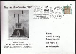Germany Schiffweiler 1990 / Telegraph Telegrafenlinie / European News Line Metz - Mainz / Machine Stamp - Telekom