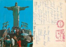 Cristo Redentor, Rio De Janeiro, Brazil Postcard Posted 1975 Meter - Rio De Janeiro