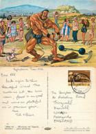 Hercules, Cartoon, Greece Postcard Posted 1984 Stamp - Grecia