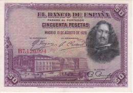 BILLETE DE ESPAÑA DE 50 PTAS DEL AÑO 1928 SERIE B CALIDAD EBC+ (BANKNOTE) - [ 1] …-1931 : Primeros Billetes (Banco De España)