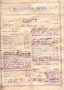 612Bce  Menu Carte Du Restaurant Payan à Avignon En 1929 - Menükarten