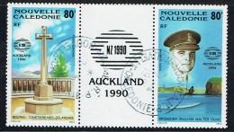 1990  Expo Philatélique Auckland'90  Cimetière Néo-zélandais, Brig. W.W. Dove 2è Guerre Mondiale Triptyque Yv PA 270A - Usati
