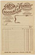 FACTURE PUBLICITAIRE ILLUSTREE DOCUMENT COMMERCIAL CHOCOLAT D'ANNECY Cacao Truffes Bonbons Bouchées Florentina V° écrit - Food