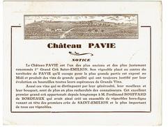 Publicité 1926, Château PAVIE, Grand Crû Saint-Emilion - Ferdinand BOUFFARD - 2 Scans - Alcools