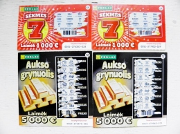 4 Lottery Tickets From Lithuania - Billetes De Lotería