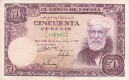 BILLETE DE ESPAÑA DE 50 PTAS DEL 31/12/1951 SERIE C CALIDAD MBC (BANKNOTE) - [ 3] 1936-1975 : Régence De Franco