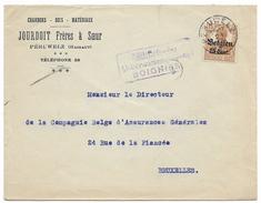 """Lettre Avec Oblitération """"PERUWELZ"""" Et Censure Allemande De Soignies - WW I"""