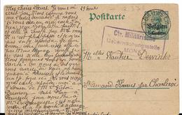 """Carte Postale Avec Oblitération """"PERUWELZ"""" Et Censure Allemande De Mons - WW I"""