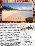 Beach Scene, Bali, Indonesia Postcard Posted 2001 Stamp - Indonesië
