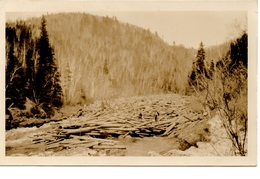 MILLSTREAM, Quebec, Canada, Nelson Bros Log Jam, Lumber Jacks, 1926 RPPC - Quebec