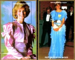 Kleider Von Diana 1997 Niger Block C+D 110 ** 16€ Memorial Lady Di Hb Blocs Ms Flower Princess Of Wales Sheets Bf Africa - Niger (1960-...)