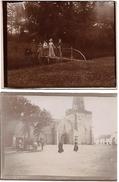 P106 2 Photos Vue D'une église Et D'une Promenade Champêtre Vres 1900 - Ancianas (antes De 1900)