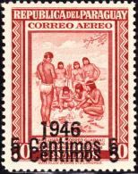 Paraguay 1946 5c On 70c Postal Indians Double Overprint. Scott C157. MH. - Paraguay