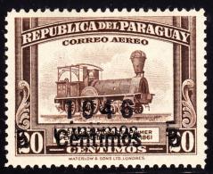Paraguay 1946 5c On 20c Locomotive Double Overprint. Scott C154. MH. - Paraguay