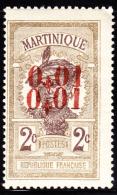 Martinique 1924 1c On 2c Double Overprint. Scott 114. MH. - Martinique (1886-1947)