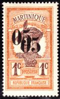 Martinique 1920 5c On 1c. Scott 105a. MH. - Martinique (1886-1947)