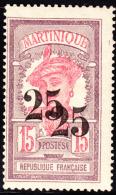 Martinique 1920 25c On 15c. Scott 107a. MH. - Martinica (1886-1947)