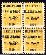 Paraguay 1920 50c On 80c Coat Of Arms Double Overprint In Bl/4. Scott 230. MH. - Paraguay
