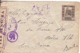30-Regno-Posta Militare-Censura-50c.Pittorica Libia 1940 Da Tripoli A Modica Alta-Ragusa-Due CENSURE - Libia