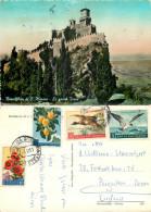 Castle, San Marino Postcard Posted 1959 Stamp - San Marino