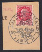 """FRANCE Francia Frankreich - 1942, Yvert 519 - 2,40 F, Usato, Su Frammento Di Cartolina """"Salon De La Marine"""" - 1941-42 Pétain"""