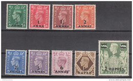 Muscat-oman    Scott No.  16-24    Unused Hinged     Year  1948 - Oman