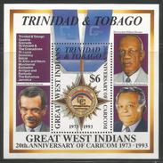 1994 Trinidad  CARICOM Walcott Literature Politician Complete Set Of 4 & Souvenir Sheet MNH - Trinidad & Tobago (1962-...)