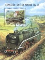 Cuba 1999 Railway, Train, Locomotive, Stamp Exhibition Used Cancelled M/Sheet (U-30)