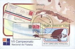 Cuba 2007 Airplane, Philatelic Conference And Stamp Exhibition Used Cancelled M/Sheet (U-31)