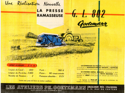 Prospectus Presse Ramasseuse Gl 802 Goetzmann - Supplies And Equipment