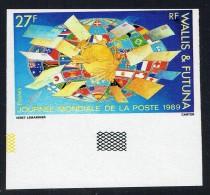 1989   Journée Mondiale De La Poste Globe Et Drapeaux    Yv 389 Non-dentelé ** - Imperforates, Proofs & Errors