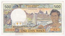 """Polynésie Française - 500 FCFP - Mention """"PAPEETE"""" Au Verso - O.3 / Roland-Billecart / Waitzenegger - Papeete (Polynésie Française 1914-1985)"""