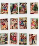 Petite CHROMO Enfants Fille Garçon Scènes De Vie Coq Chien Chat Ane Singe Sapin De Noël Jouets Patissier Cor (12 Chromos - Trade Cards