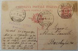 CARIATI COSENZA - CATALDO RICCI OROLOGIAIO   - TIMBRO SU CARTOLINA POSTALE 1914 - 102 ANNI!!! - Cosenza