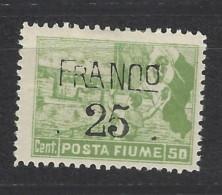 Fiume - 1919 - Nuovo/new MH - Sovrastampati 'Franco' - Sass. N. 82 - Fiume