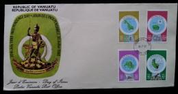 VANUATU - FDC 1980 - YT N°586, 587, 590, 594 - CARTOGRAPHIE DES ILES - Vanuatu (1980-...)