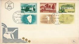 1959 Israel First Day Issue FDC - Deganya, Yesud Ha Maala, Merhavya - No Address. - Ongebruikt (met Tabs)