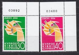 Europa Cept 2006 Cyprus 2v (corner, Sheet Number)  ** Mnh (33919B) - Europa-CEPT
