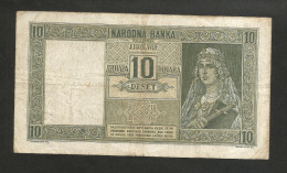 YUGOSLAVIA / JUGOSLAVIA - 10 DINARA (1939) - With VERIFICATO Overprint / Montenegro - Jugoslavia