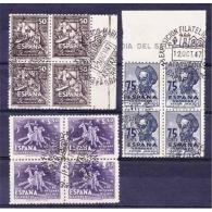 ES1012STV-LFTU1012TOT.España.Spain .CENTENARIO DE CERVANTES.Escritor.Quijote.DIA DEL SELLO. 1947 .( Ed 1012/4º)BL4 - Sin Clasificación