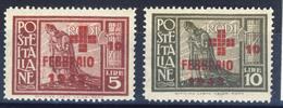 1945 - Pro Croce Rossa Serie Di 2 Valori Nuovi  MNH** - Egeo (Occup. Tedesca)
