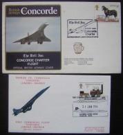 Concorde: Lot De 2 Enveloppes Premier Vol 1976 Et 1978 De Grande Bretagne (great Britain) ! Voir Photos - Concorde