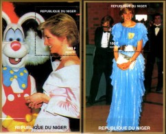 Diana Mit Bunny 1997 Niger Bl.D 110+B 111 ** 16€ Porträt-Fotos Lady Di Blocs Ms Flower Princess Of Wales Sheet Bf Africa - Disney