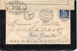 Suisse Lettre Censurée Pour Le Brésil 1916 - Marcofilia