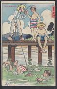 "THEMES - Signé H. Gervese -  Carte Postale "" Nos Marins - La Baignade "" - Gervese, H."