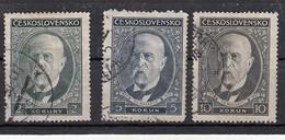 Tchecoslovaquie  80ème Anniversaire Du Président Masaryk 3 Valeurs - Oblitérés