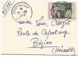 AOF MIGNONNETTE DE GRAND BASSAM POUR LA FRANCE DU 21/10/1958
