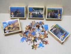 5 PUZZLES COURTEPAILLE - Puzzle 36 Pièces : 2 X Etretat / Chenonceaux / Les Remparts De Carcassonne / Mont-Saint-Michel - Puzzle Games