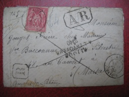 Lettre De Aime Savoie 1895 En Recommandé Type Sage Avec AR Pour Marseille Et Retour Envoyeur - Marcophilie (Lettres)
